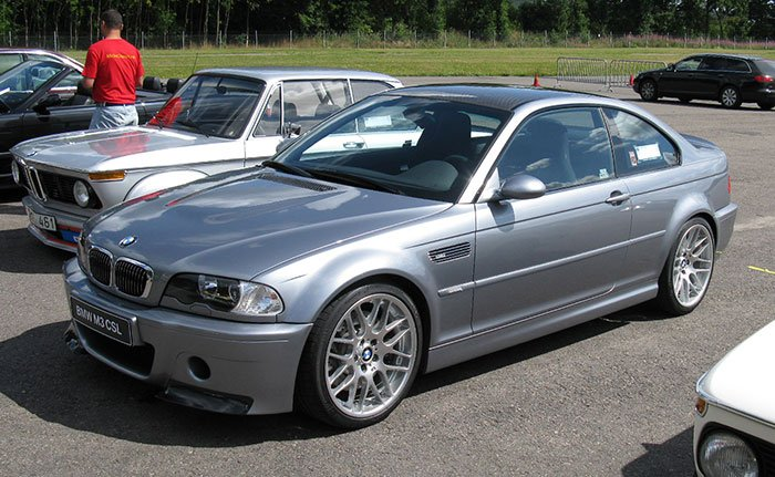 BMW M3 CSL front angle in silver grey metallic.