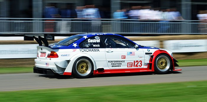 M3 GTR race car out on track.