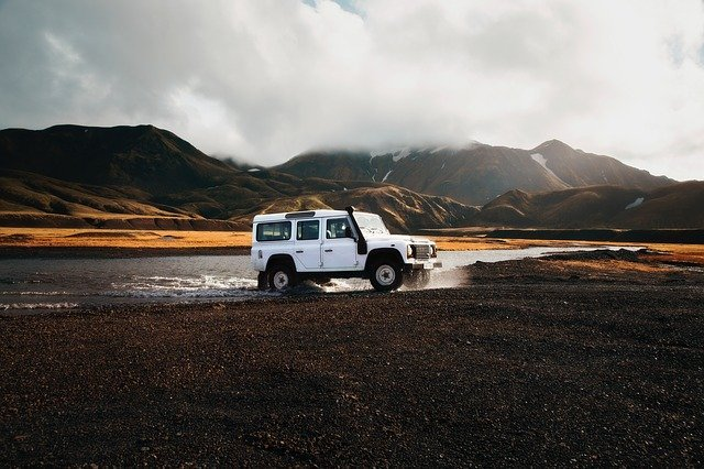 Land Rover defender off-road in Iceland.