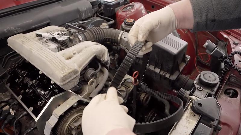 E30 timing belt removed from the M40 engine.