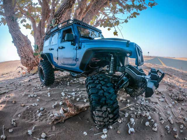 Off road Jeep suspension with not broken coil spring coilover.