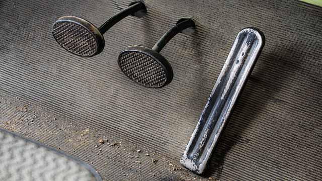 Car's clutch pedal in footwell